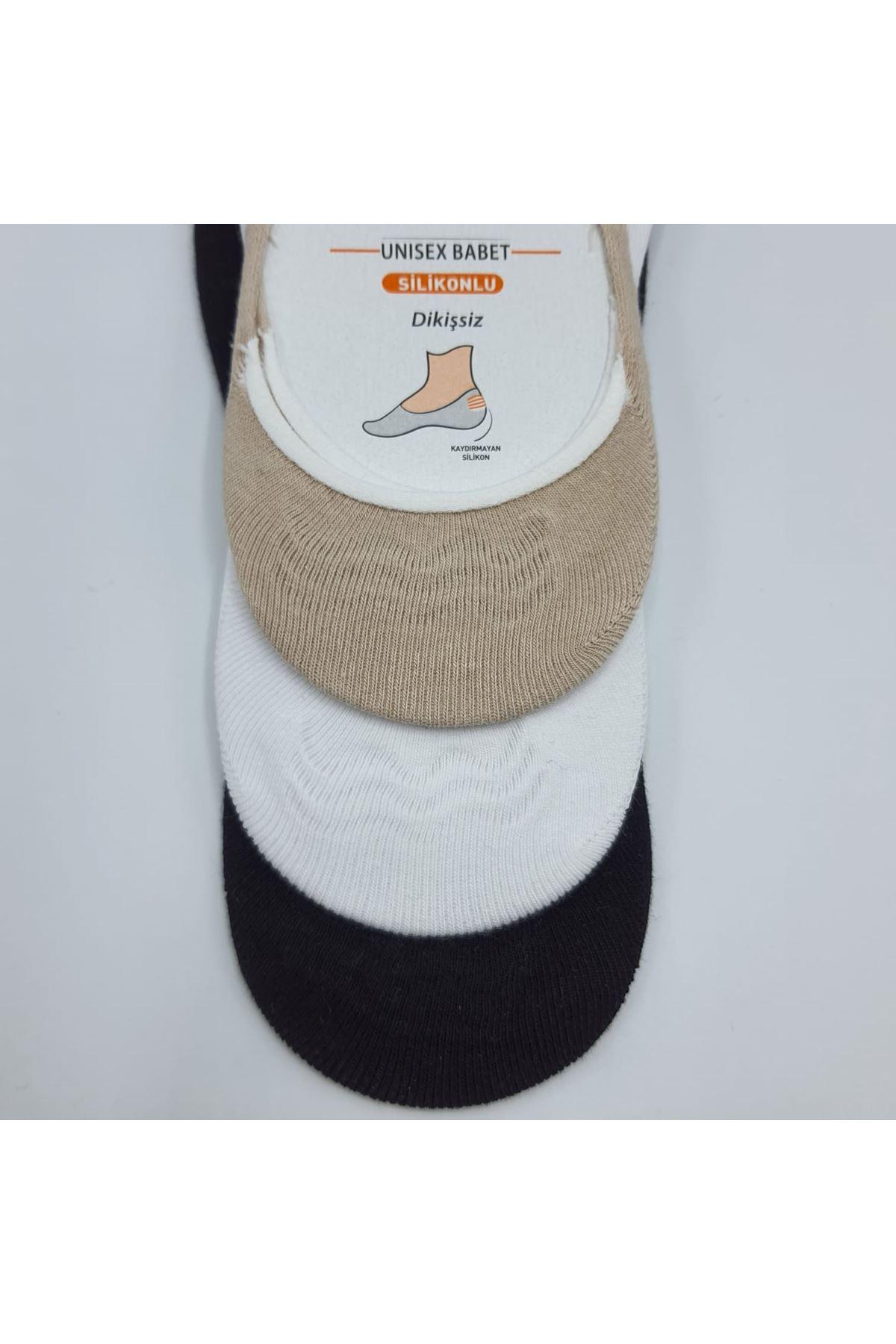 Altılı Kadın Babet Çorap Siyah Beyaz Bej