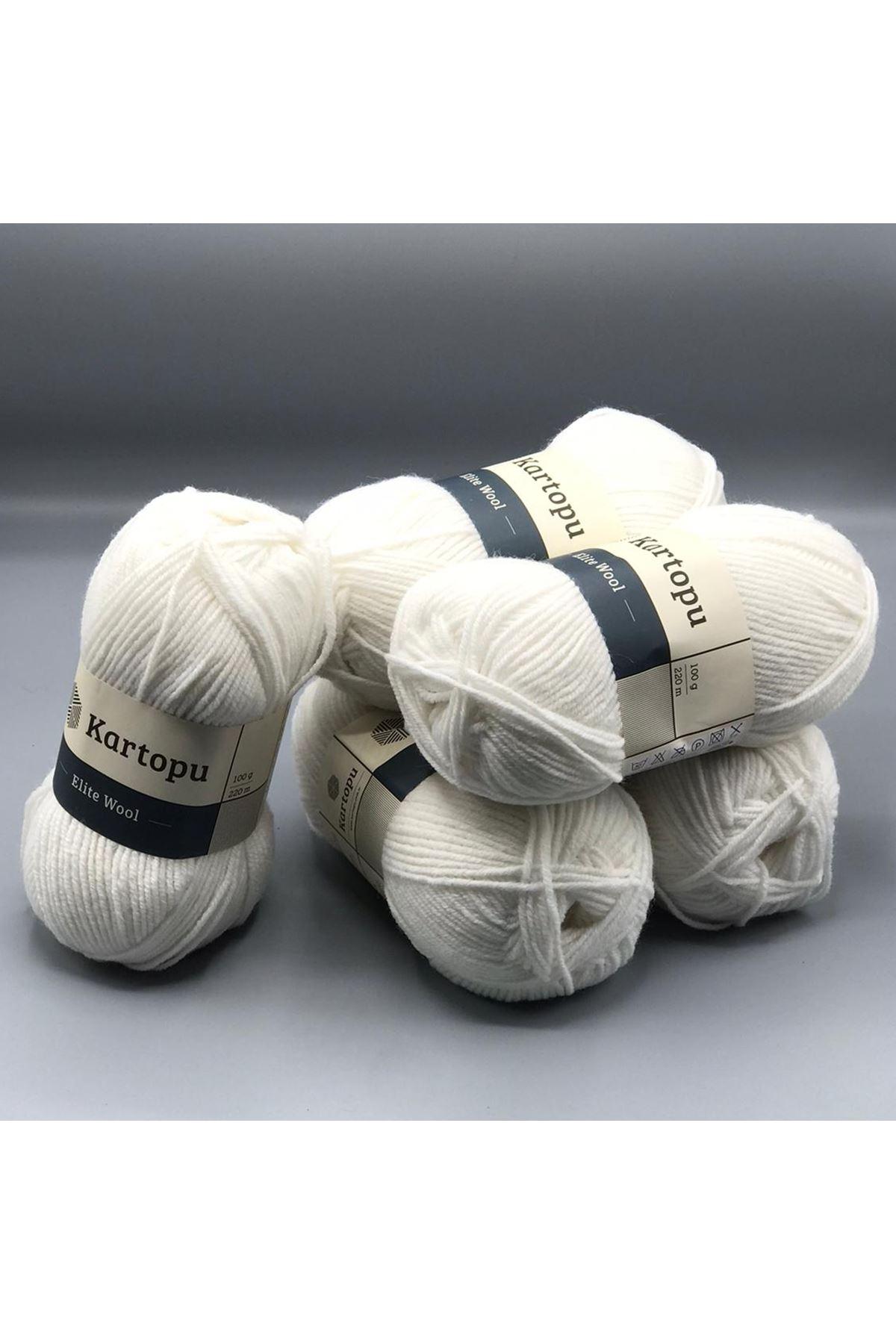 Kartopu Elite Wool 5'li Paket K010 Kar Beyaz