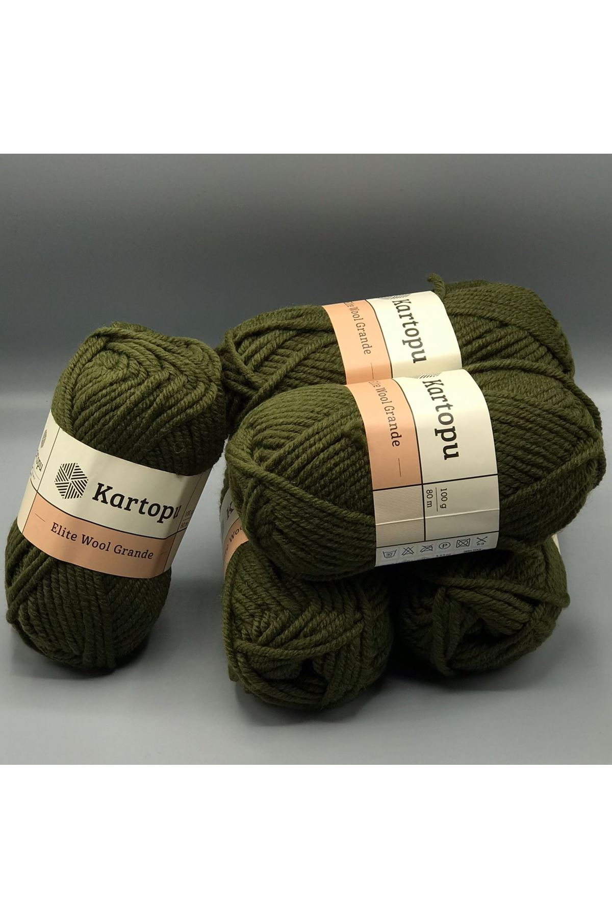 Kartopu Elite Wool Grande 5'li Paket K1405 Haki
