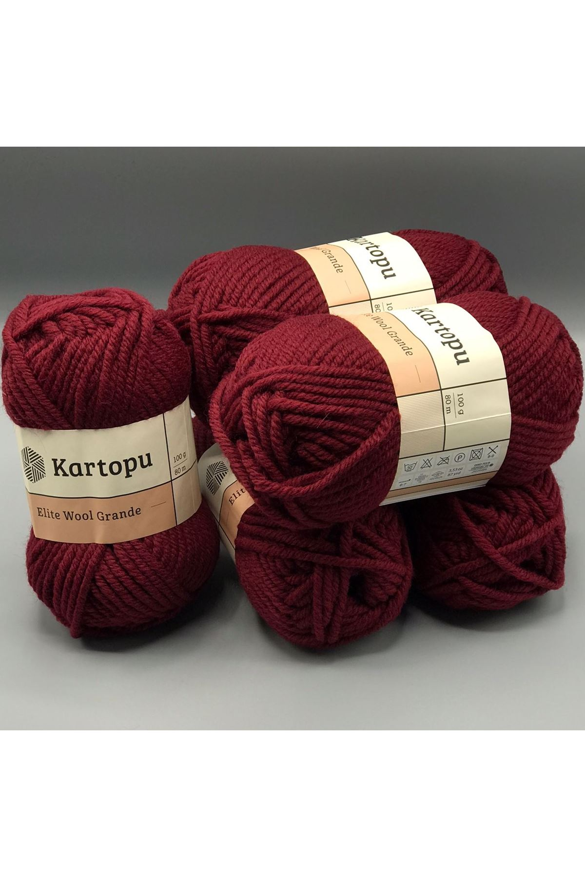 Kartopu Elite Wool Grande 5'li Paket K1104 Vişne