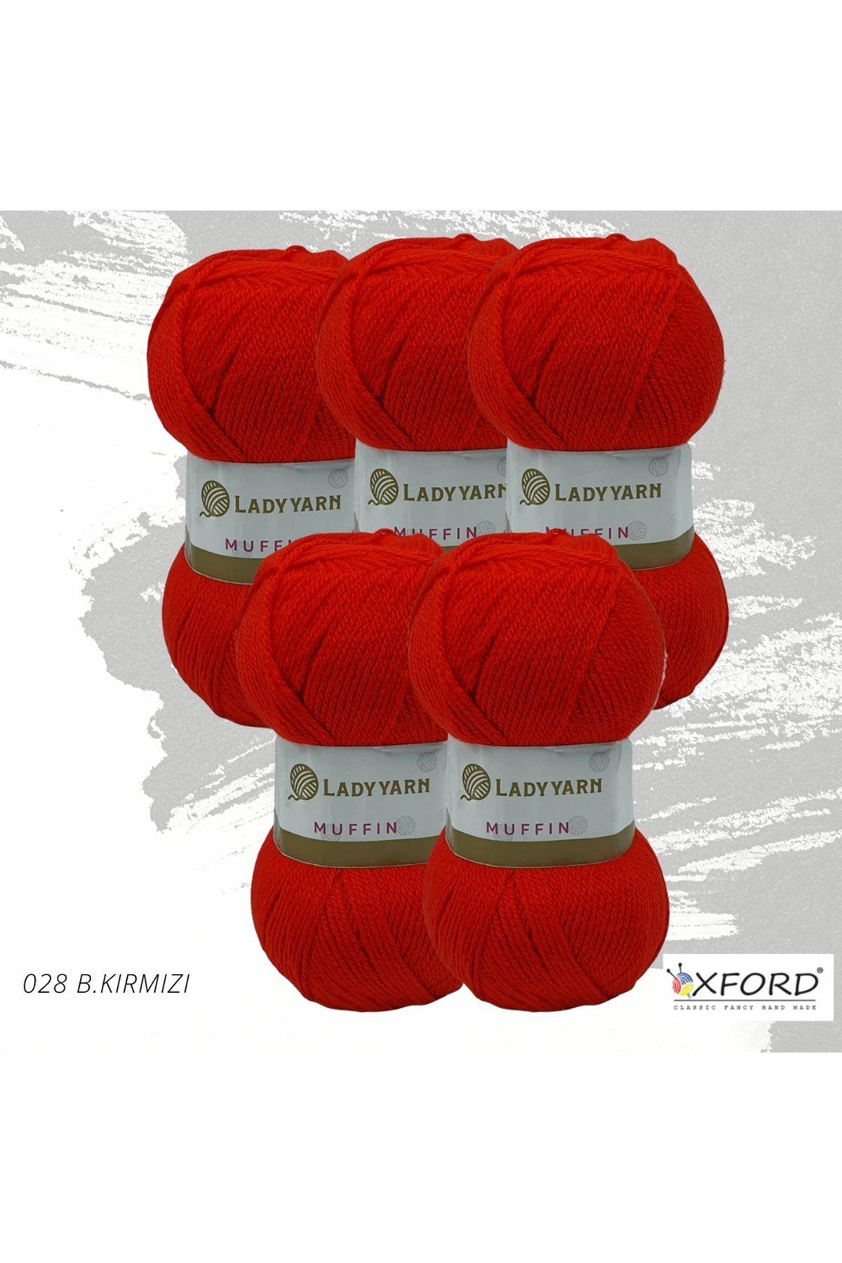 Lady Yarn Muffin 5'li Paket 028 Bayrak Kırmızı